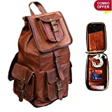 pranjals house Leather Backpack and Mobile Wallet Cover Combo Pack (Brown)