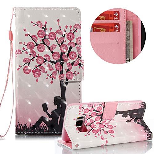 Gurt Lederhülle für Samsung Galaxy S8 Plus,Brieftasche für Samsung Galaxy S8 Plus,Moiky Stilvoll Luxuriös 3D Blume Mädchen Muster Ständer Karten Slot PU Leder Etui Hülle