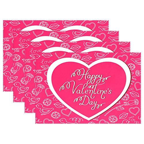 Happy san valentino, set di 1tovagliette, tovagliette rosso cuore tessuto lavabile per sala da pranzo tavolo da cucina decorazione home decor tovaglietta 30,5x 45,7cm per bambini, multi, 12x18 inch
