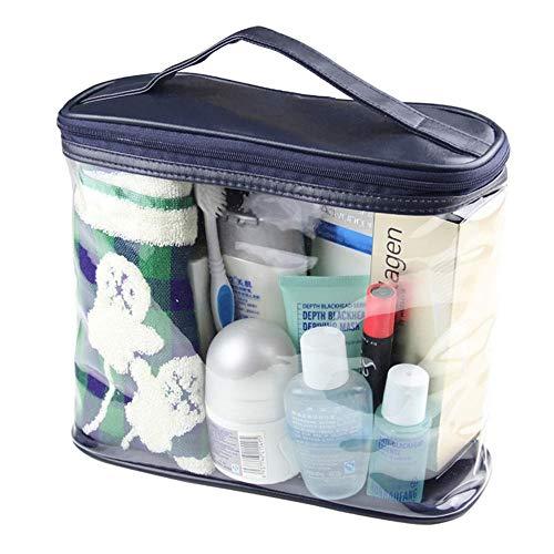 Viaggi borse trasparenti donne impermeabili uomini kit da toilette sacchetto cosmetico con cerniera in pvc grande capacità di stoccaggio custodia borsa da donna (color : dark blue)
