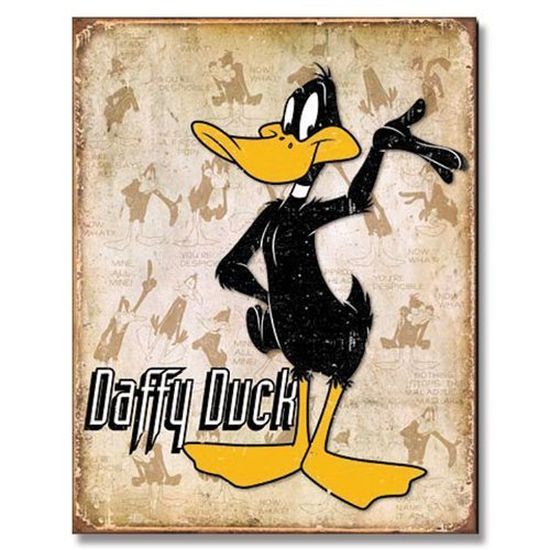 daffy-duck-retro-layout-distressed-retro-vintage-tin-sign-by-desperate