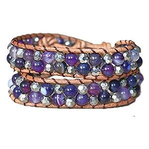 juanlowe Wickelarmband, Perlen, Perlenarmband Armband Achat Halbedelsteine Steine Leder Perlen Armbänder für Damen