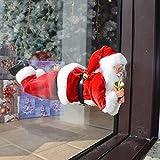 Bakaji Christmas Babbo Natale Volante per Finestra Applicazione con Ventose Decorazioni Addobbi Natalizi Casa (35 cm)