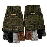 Fletion Gants de laine en tricot d'hiver pour hommes Tricotés Gants de demi-poignets chauds Mitaines sans doigts Gants de flottaison pour équitation, golf, escalade, badmintion, tennis