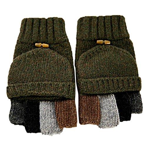 Butterme Uomini maglia di lana Cabrio Guanti senza dita Guanti Pugno guanto da guida con piega tasca posteriore (Army Green)