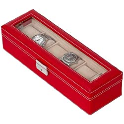 Red PU Leather Six Watch Case / 6 Watch Display Box