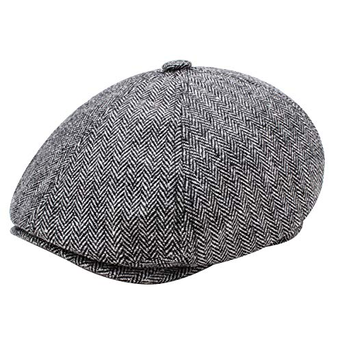 Yinuoday Damen Herren Newsboy Hut Baskenmütze Vintage Snapback Hats Octagonal Flat Cap Casquette Tweed Cabbie Hat, grau, Universal Tweed-hut