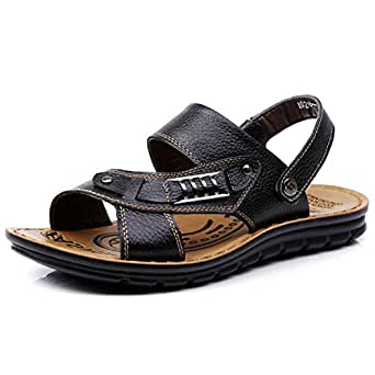 67ecb21dd90c43 Large Size Real Leather Sandals Men s Open Toes Beach Shoes Summer Slippers  Flip Flops Thong For