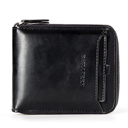JOSEKO Geldbörse Herren Leder Geldbeutel mit RFID Schutz Querformat Portemonnaie mit Münztasche Geldtasche Portmonee mit abnehmbare Kreditkarte Halter Schwarz -