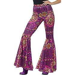 Smiffys Pantalones Acampanados, Rosa, psicodelia, para Mujer