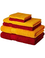 Solimo 100% Cotton 6 Piece Towel Set, 500 GSM (Spanish Red and Sunshine Yellow)