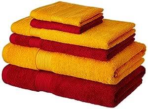 Amazon Brand - Solimo 100% Cotton 6 Piece Towel Set, 500 GSM (Spanish Red and Sunshine Yellow)