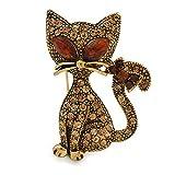 Unbekannt Silberton Sweet Topaz Brosche Katze in Antik Gold Tone Metall–35mm L