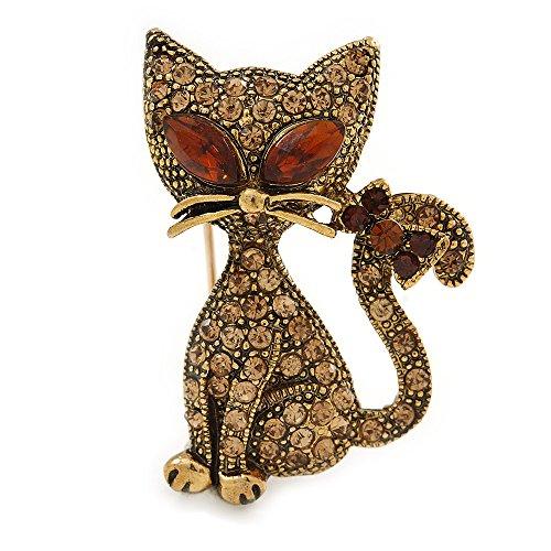 Unbekannt Avalaya Katzen-Brosche aus Metall mit süßem Topas-Kristall, Antik-Goldton, 35 mm L
