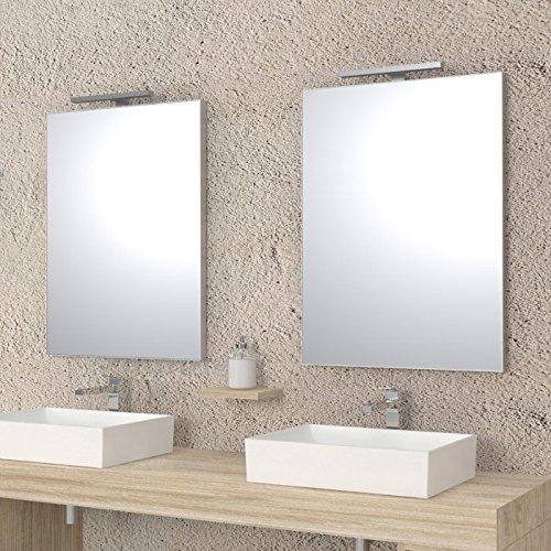 Ve.ca-italy specchi per arredo bagno e casa - design minimale - con luce / plafoniera led (80x60 cm - luce/ plafoniera led 30 cm)