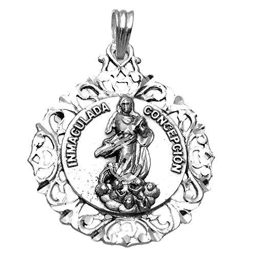Medalla Plata Ley 925M Virgen Inmaculada 45mm. Busto Cerco Unisex