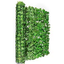 Blumfeldt Fency Bright Leaf • Sichtschutz • Windschutz • Lärmschutz • 300 x 100 cm • Buchenblätter • hohe Blickdichte • kunststoffummanteltes Gitternetz • 6 x 6 cm Maschenweite • grüne Flexbinder zur Befestigung • einfache Anbringung • hellgrün
