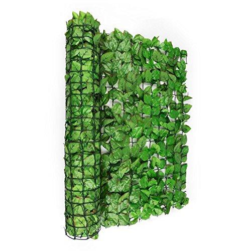 Blumfeldt Fency Bright Leaf - Clôture Brise-Vue en Imitation Feuilles de Hêtre de 300x100 cm pour Balcon, Terrasse, Jardin - Vert Clair