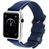 Apple watch Armband, Fullmosa® Bosin Bambus Textur Hauptschicht Rindsleder Lederarmband mit...