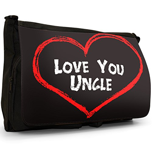 Fancy A Bag Borsa Messenger nero Love You Mum Mother Birthday Gift Love You Uncle Birthday Gift
