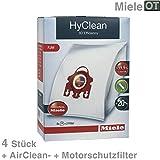 Original Miele FJM Hyclean 3D Effizienz Staubsauger Staubsaugerbeutel (1, 2, 3, 4 oder 5 boxen + Optional Erfrischung) - 1 Schachtel mit 4 FJM Staubbeuteln