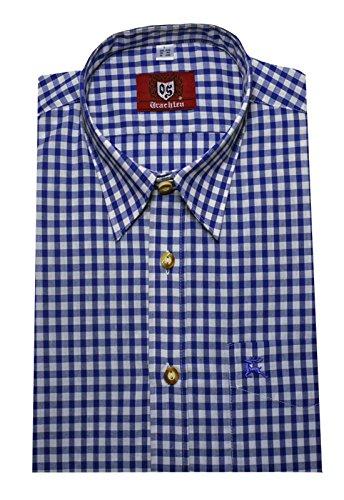 Orbis 0061 Trachtenhemd kornblau weiß kariert Bavaria Shirt bequemer Schnitt Größen M bis 4XL Blau