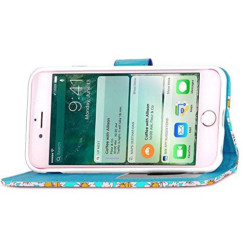 iPhone Case Cover Qualität PU-Leder-Kasten, Chrysantheme-Blumen-Muster-Mappen-Standplatz-Fall Foto-Fenster-Kasten für iPhone 7 ( Color : Red , Size : IPhone 7 ) Blue