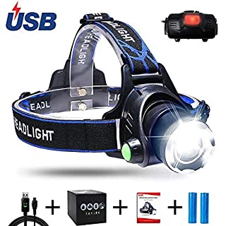 Aukelly LED Head Torches Headlamp USB Head Torch Rechargeable,LED Head Lamp Super Bright,Waterproof,Zoomable,4 Modes,Headlamps Rechargeable XML-T6 Headlamp,for Camping,Hiking,Include 18650 Battery
