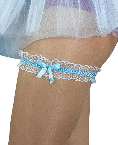 Oblique-Unique® Blau - Weisses Strumpfband für Hochzeit mit Schleife