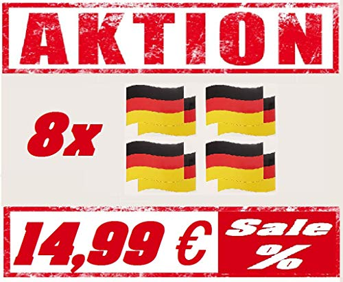 generisch Magnetfahne Sets Deutschland Türkei Russland Italien Fahne 21x15 cm Automagnet Flagge WM EM Fanartikel Fussball Handball Olympia (Deutschland 8 Set)