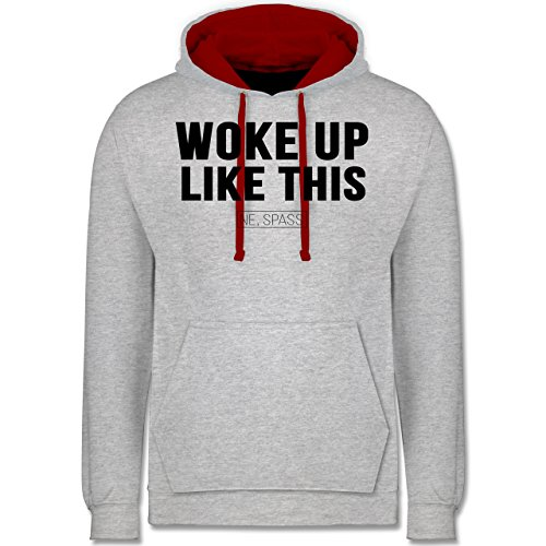 Statement Shirts - Woke Up Like This (Ne, Spass) - Kontrast Hoodie Grau Meliert/Rot
