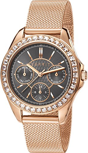 Esprit Vita Women's Quartz Watch with Grey Dial Analogue Display and Rose Gold Stainless Steel Bracelet ES107872005