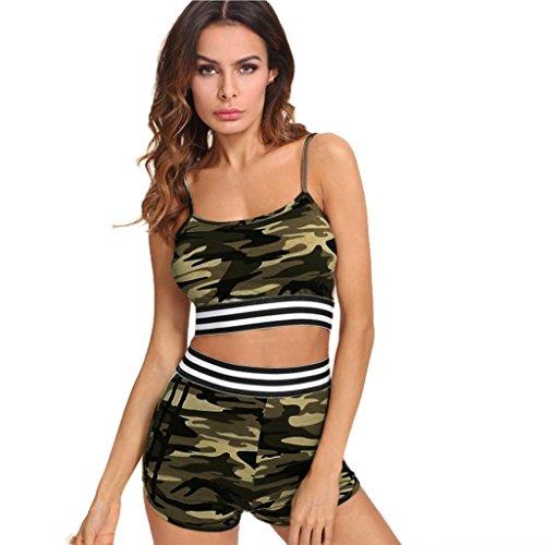 Tank Tops + Kurze Hosen Damen, Sunday Frauen Ärmellos Patchwork Crop Cami Tops Bluse + Cord Shorts Outfit Set Sport Anzug (Camouflage, S)