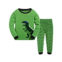 Qtake Fashion Boys Pajamas Children Clothes Dinosaur Set 100% Cotton Little Kids Pjs Sleepwear (1-2 Years, Dinosaur)