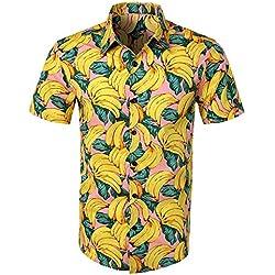 YEBIRAL Polos Manga Corta Hombre Manga Corta Básico Polo con Botones Camisa Hawaiana Hombre Camiseta Fruta Floral Estampado Formales Tops (3XL,Amarillo-1)