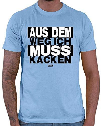 HARIZ  Herren T-Shirt Aus Dem Weg Ich Muss Kacken Sprüche Schwarz Weiß Inkl. Geschenk Karte Himmel Blau XXL