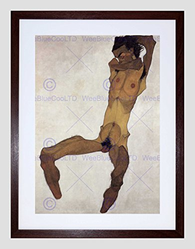 EGON SCHIELE SEATED MALE 1910 OLD MASTER BLACK FRAMED ART PRINT B12X2787