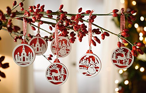 Decorazioni In Legno Per Albero Di Natale : Heaven sends scatola con 12 decorazioni in legno per albero di