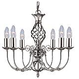 Searchlight Zanzibar Satin Silber 6 Deckenleuchte, Deckenlampe, Deckenleuchter, 6 Lampen, höhenverstellbar