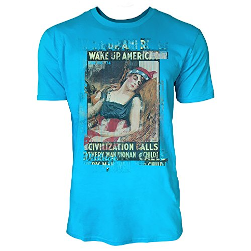 America Art Magazine In (SINUS ART® Wake up, America! Herren T-Shirts in Karibik blau Cooles Fun Shirt mit tollen Aufdruck)