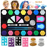 Dookey Kids Face Paint Set, Professional Safe Child Face & Body Painting Kit 16 Colors, 2 Hair Dye, 2 Glitter, 4 Sponges, 2 Brushes, 2 Eyeshadow Sticks, 24 Stencils Tattoos For Halloween Party Makeup