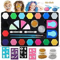 Dookey Kinderschminke Set, mit 2 Haarkreide, 16 Schminkfarben Make-up Bodypainting Face Paint , 2 Glitzer Farben Schminkset Wasserlösliche Geschenk für Kinder Partys & Fasching & Halloween