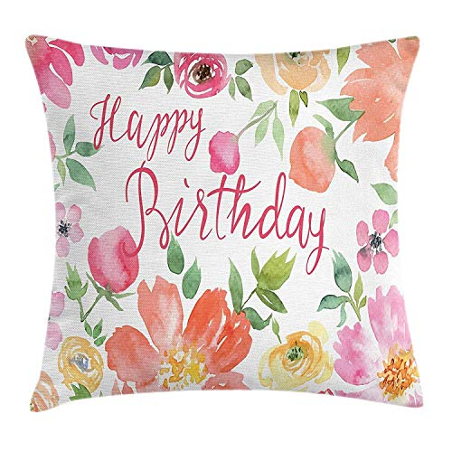 Dress rei Birthday Throw Pillow Cushion Cover, Hand Drawn Watercolor Floral Bouquet with Calligraphic Happy Birthday Lettering, Decorative Square Accent Pillow Case, 18 X 18 Inches, Multicolor 45cm -