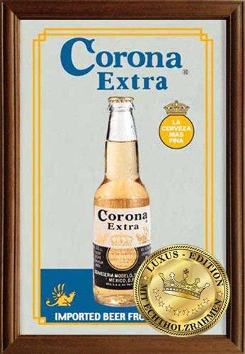 Empire Merchandising GmbH, Specchio con cornice in legno e stampa, motivo: Bottiglia di Corona, 22 x 32 x 1,2 cm, Multicolore (Bunt)
