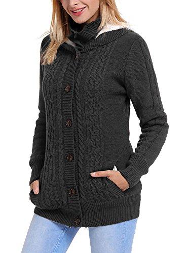 FIYOTE Strickjacke Damen Cardigan Grobstrick mit Kapuze Outwear Langarm Strickjacke Pullover Sweater