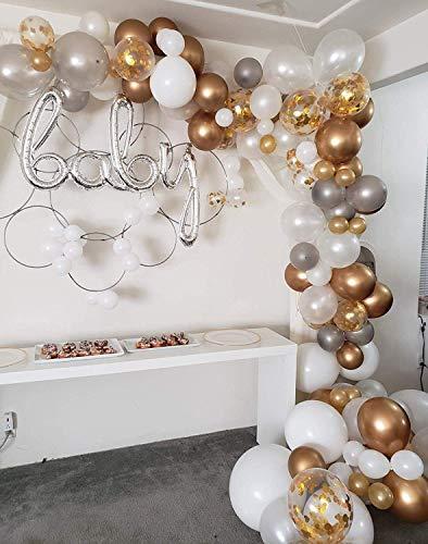 Erosion Ballonbogen & Girlande-Set | 122 Latexballons aus Weiß & Gold & Silber, Ballons aus Gold-Konfetti Sm bis Xlrge-Ballons Klebepunkte | 17 'Dekorierstreifen | Hochzeit, Babyparty, Abschlussfeier (Rosa Baby-dusche Schwarz Und)