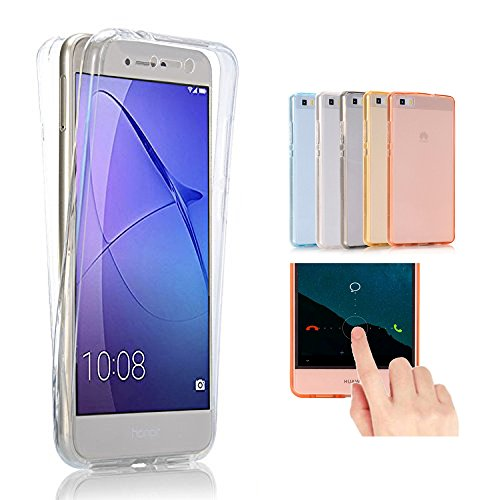 2ndSpring Huawei G8 / GX8 Hülle Case komplette Schale Ultra Slim Full Body 360 °TPU Silikon Cover Huawei G8 / GX8 Handy Tasche Schutz Etui Bumper Front Back doppelseitig,Klar