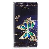 Hozor Sony Xperia X1/XZ Premium Hülle, Flip Case Lederhülle Wallet Ledertasche Klappetui Brieftasche Schutzhülle mit Magnetverschluss Kartenfächer Standfunktion - Goldener Schmetterling
