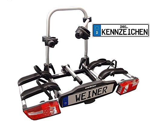 UEBLER Alu-Fahrradheckträger klappbar P22-S für 2 Fahrräder 15800 mit Kennzeichen (Bitte bei Kauf mitteilen!)