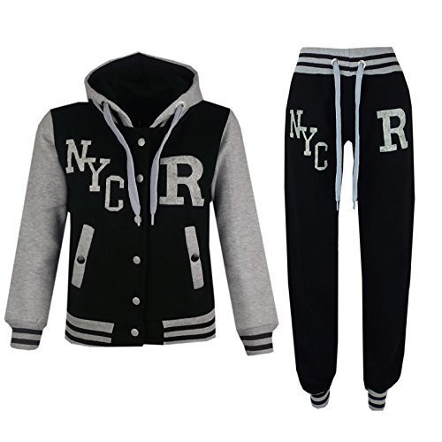A2z 4kids - tuta da baseball, logo nyc fox, giacca con cappuccio e pantaloni sportivi, unisex, per bambini nyc black 9-10 anni